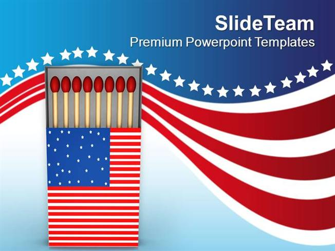 American Flag Matchbox Powerpoint Templates PPT Themes And Graphic