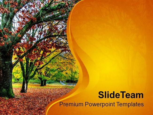 Fall of Leaves in Autumn Powerpoint Templates PPT Themes And Graph