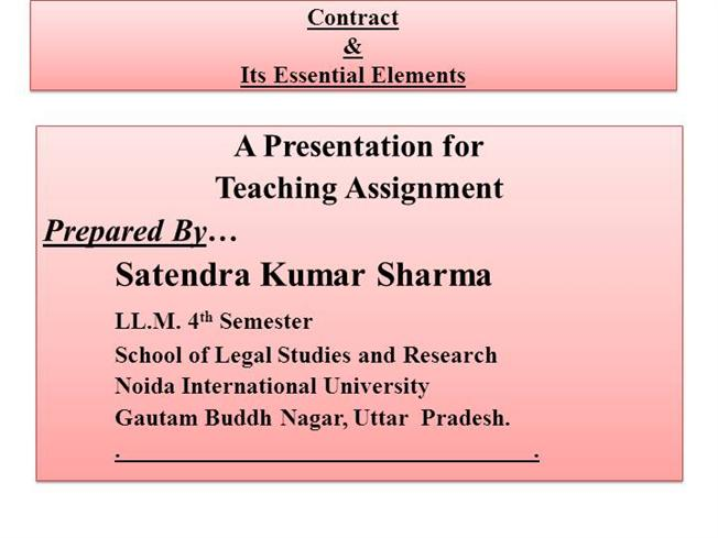 Contract Essential Elements The Basic Syllabus Understand The
