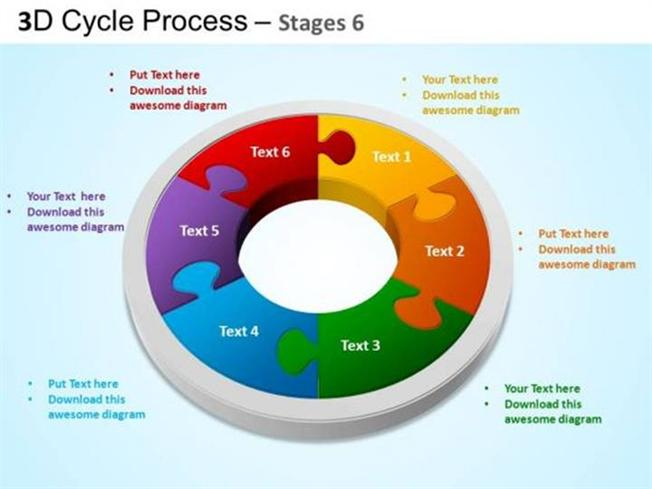 DESIGN EDITABLE CYCLE PROCESS FLOW 6 STAGES SLIDE-PowerPoint Diagram