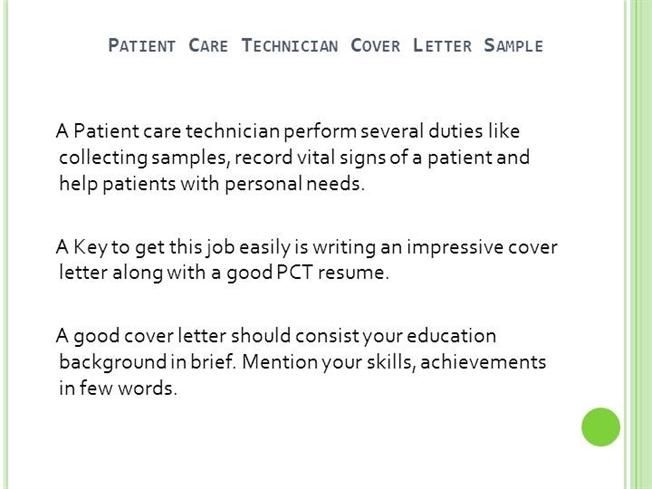 Patient Care Technician Cover Letter No ExperienceauthorSTREAM
