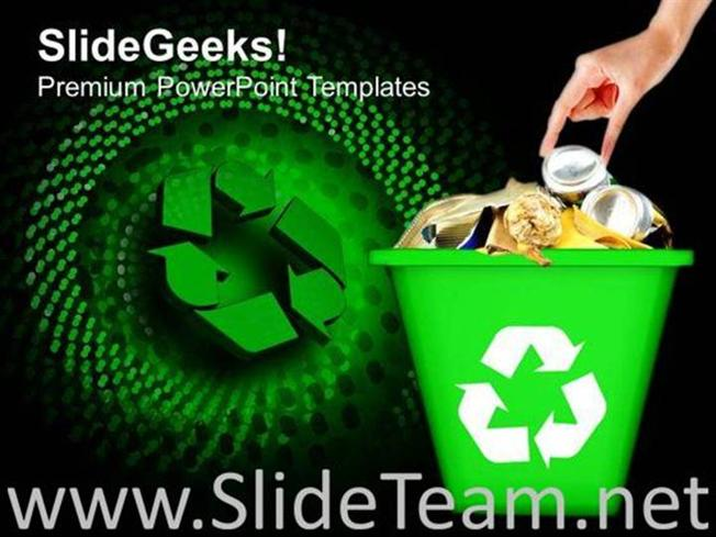 RECYCLED GARBAGE GEOGRAPHICAL ENVIRONMENT POWERPOINT BACKGROUND - recycling powerpoint templates
