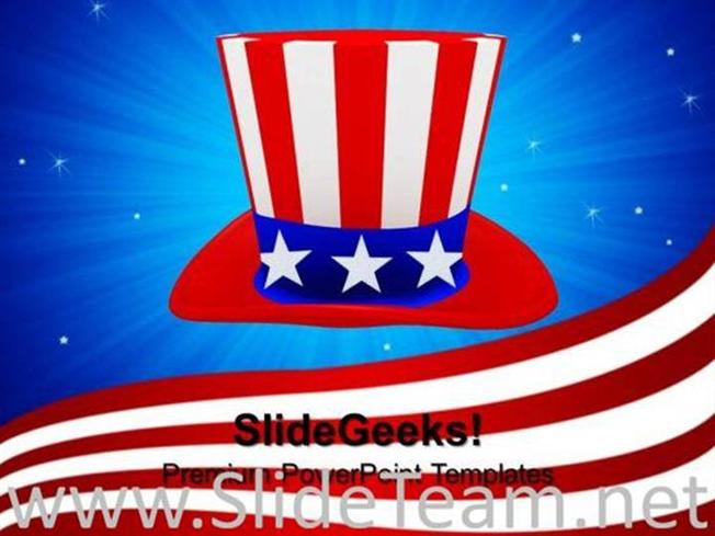 HAT WITH AMERICAN FLAG THEME NATION POWERPOINT BACKGROUND-PowerPoint