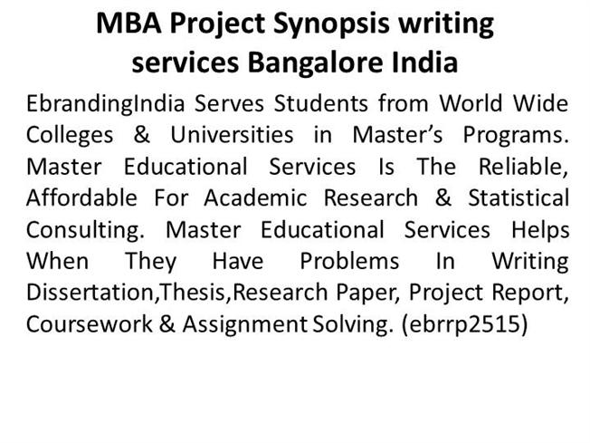 MBA Project Synopsis Writing Services Bangalore IndiaauthorSTREAM - research project report