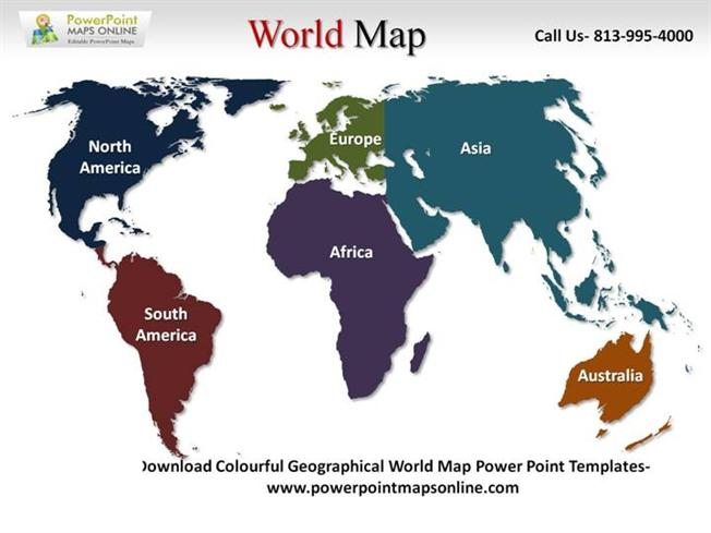 Online Colorful Geographical World Map PowerpointauthorSTREAM