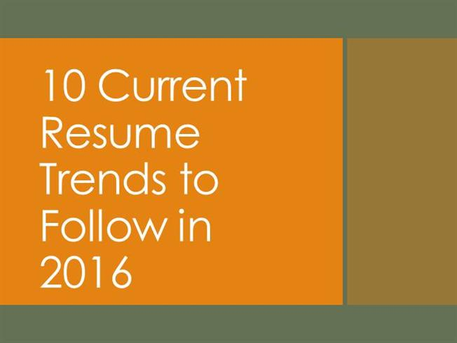 10 Current Resume Trends to Follow in 2016authorSTREAM - current resume trends