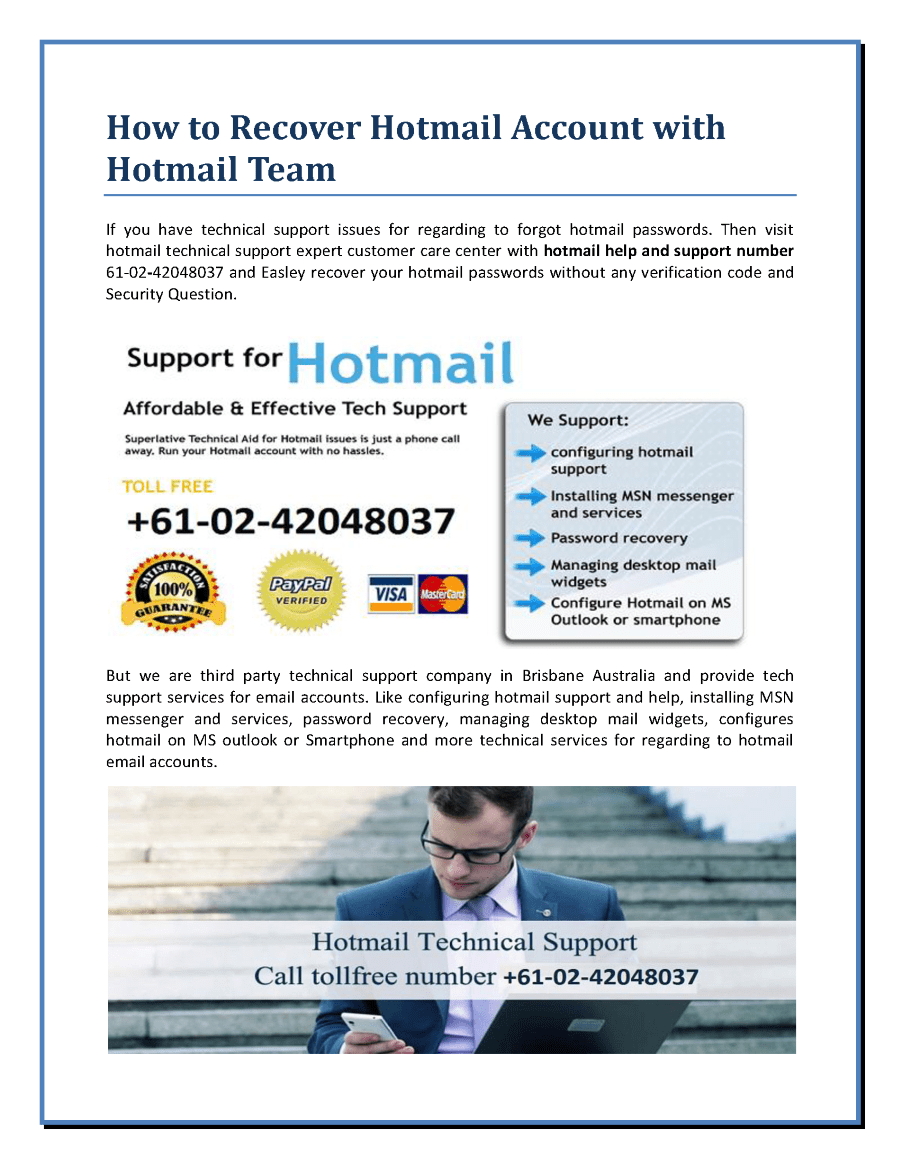 Messenger Hotmail How To Recover Hotmail Account With Hotmail Team Authorstream