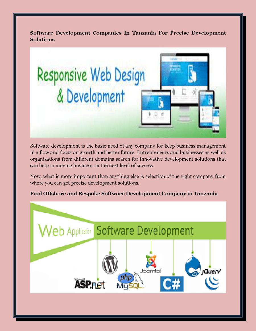 Software Developer Companies In Software Development Companies In Tanzania For Precise Development