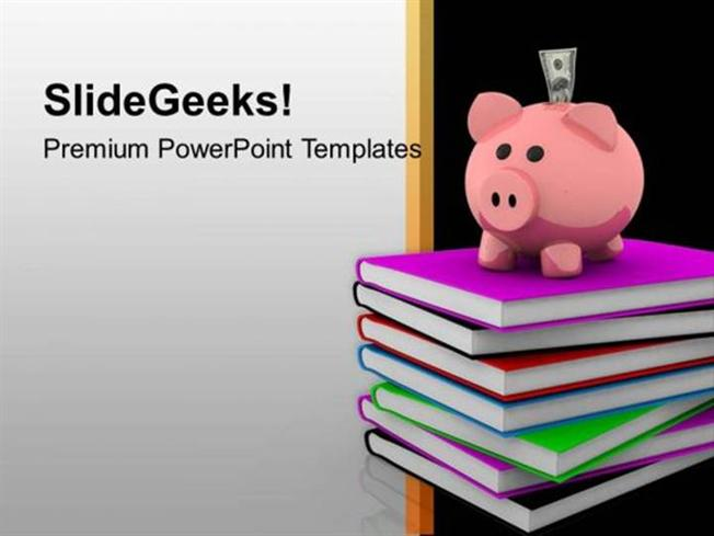 PIGGY BANK ON BOOKS HIGH EDUCATION POWERPOINT TEMPLATE-PowerPoint - Powerpoint Books