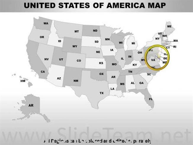 EDITABLE USA DELAWARE STATE POWERPOINT MAPS-PowerPoint Diagram - editable united states maps