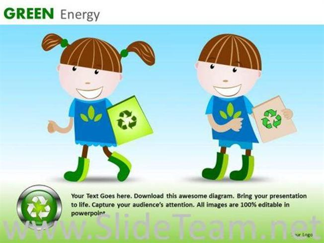 CHILDREN RECYCLING EDUCATION PPT SLIDES-PowerPoint Diagram - recycling powerpoint templates