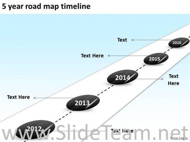 5 YEAR ROAD MAP TIMELINE PPT SLIDES-PowerPoint Diagram