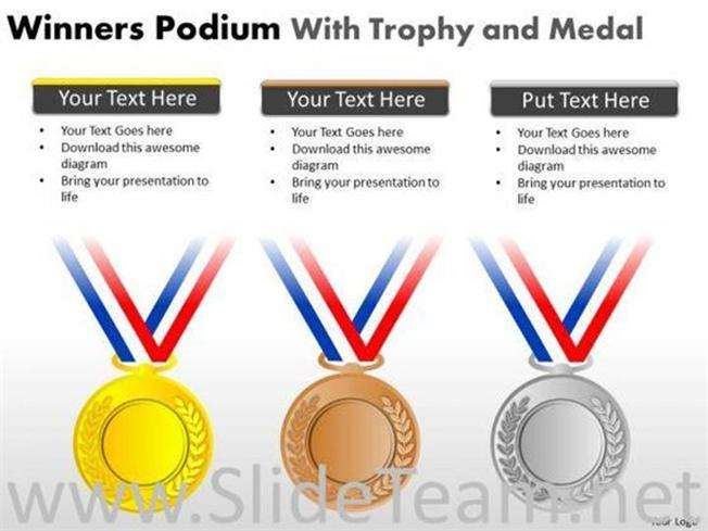 GOLD MEDAL WINNERS PODIUM POWERPOINT SLIDES-PowerPoint Diagram - gold medal templates