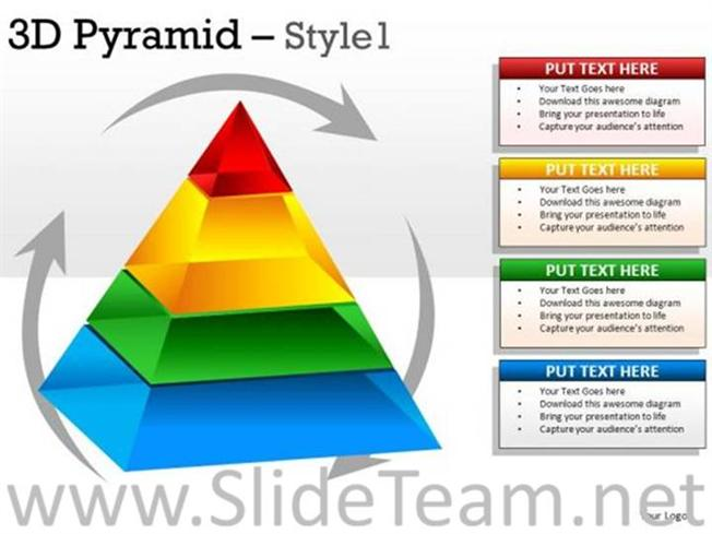 3D Pyramid Diagram With 4 Stages-PowerPoint Diagram