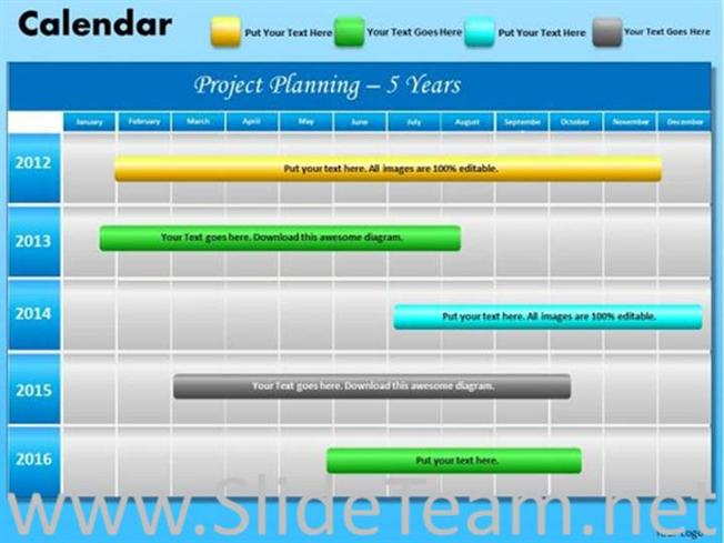 5 Years Project Planning Layout-PowerPoint Diagram