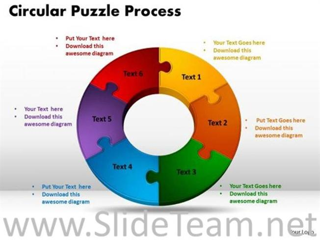 6 stages circular jigsaw puzzle flow process-PowerPoint Diagram
