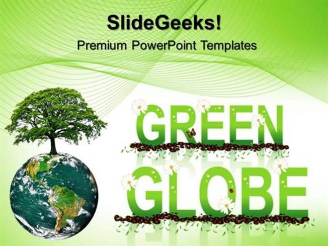 GREEN ENERGY GREEN GLOBE ENVIRONMENT PPT TEMPLATE 1-PowerPoint Template