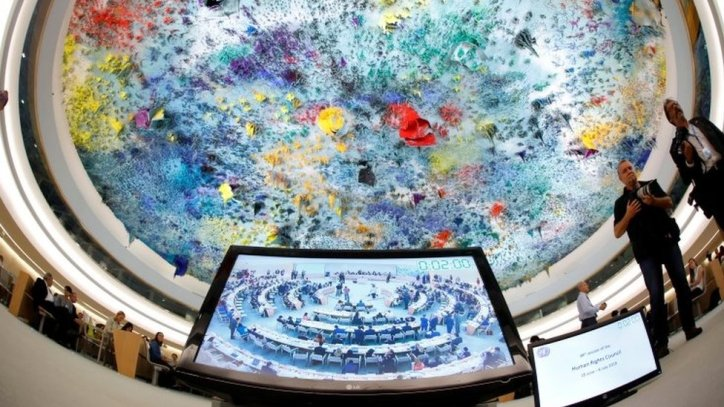 A meeting of the UN Human Rights Council in Geneva, Switzerland