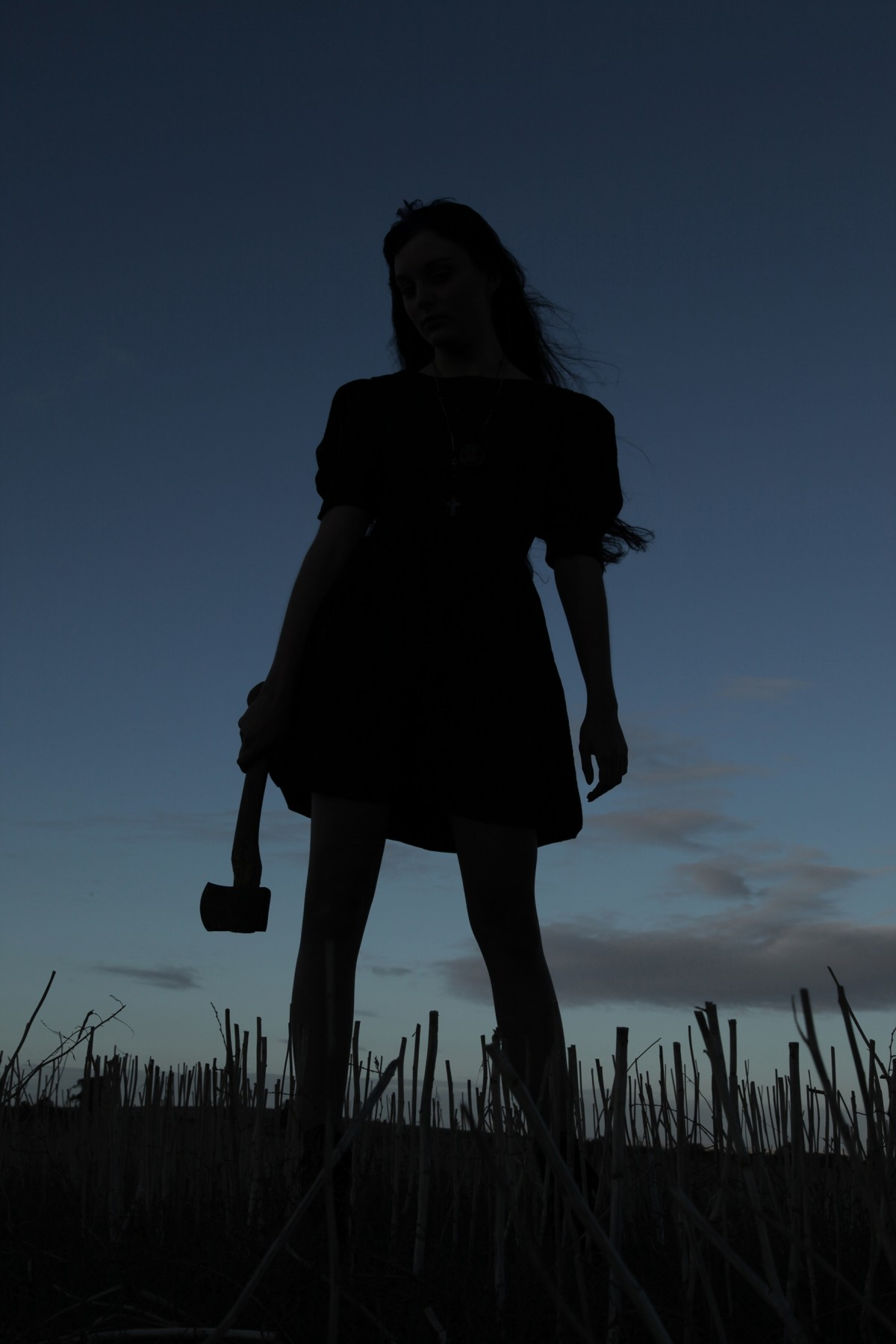 Scary Girl Wallpaper Free Images Axe Murderer Silhouette Female Dusk