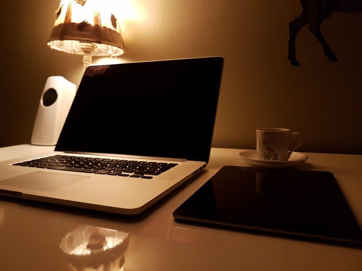 Free Images : laptop, desk, computer, macbook, table