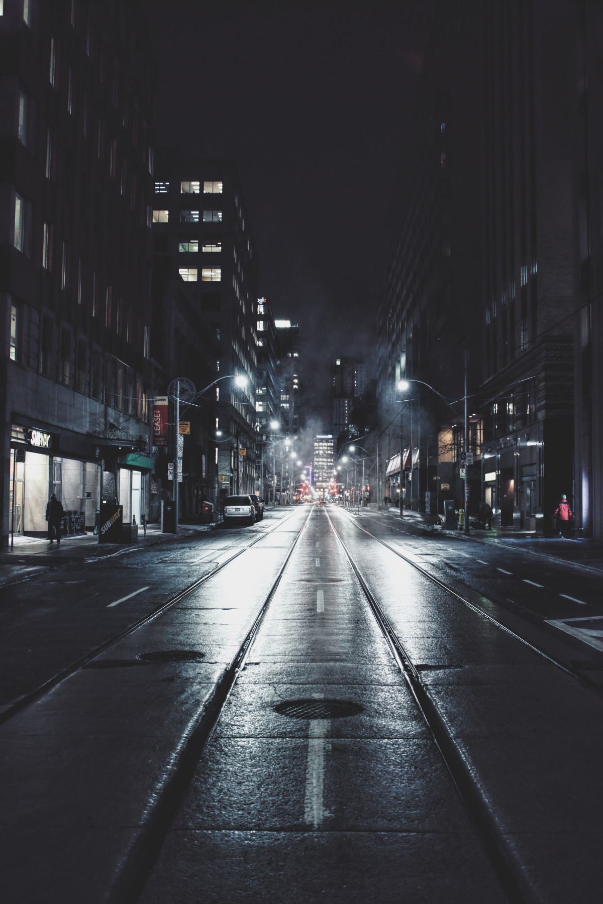Dark City Street At Night Free Images Walking Snow People Road Night Sunlight
