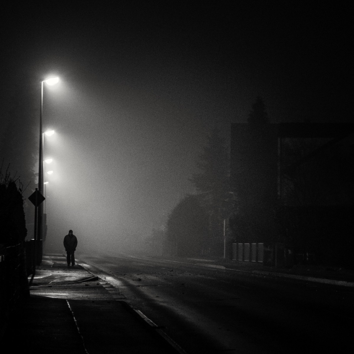 Lonely Girl Walking In Rain Wallpaper Free Images Cold Winter Black And White Fog Night