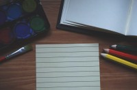Free Images : notebook, table, book, pencil, pen, brush ...