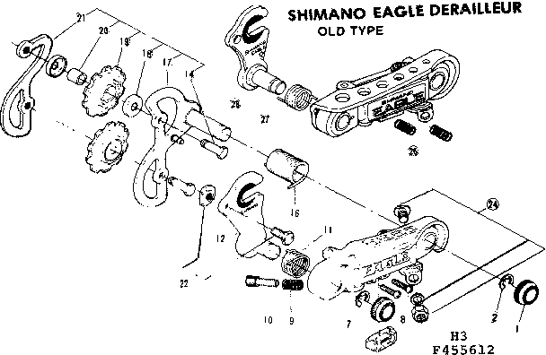 shimano skylark rear derailleur diagram and parts list for sears