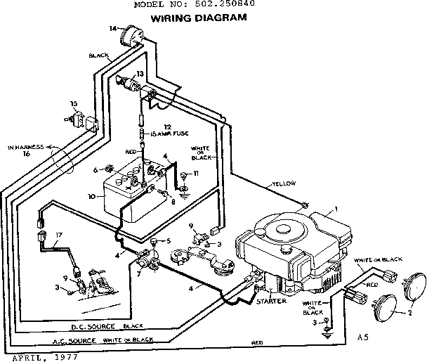 wiring diagram for sears lawn tractor