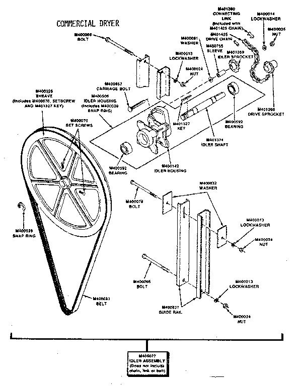 breakdown diagram and parts list for huebsch dryerparts model 30eg