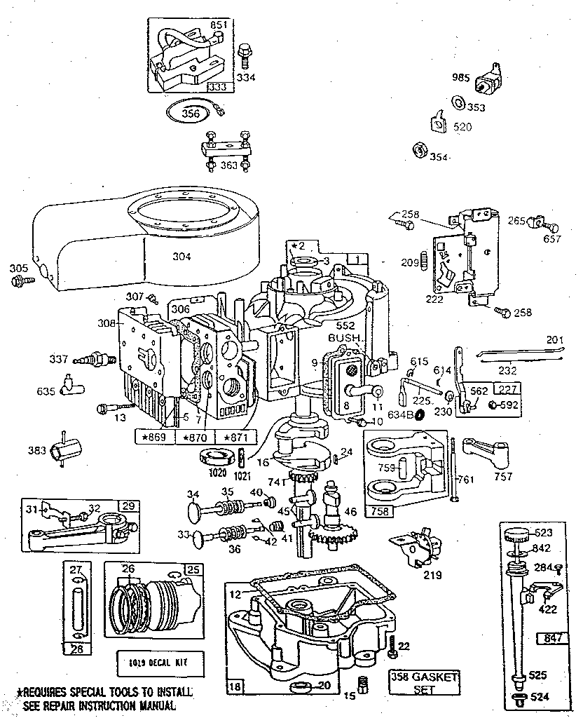 briggs and stratton ohv engine parts diagrams