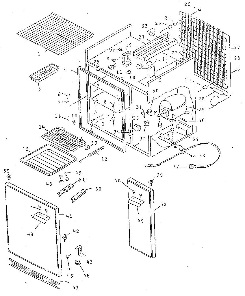 refrigerator cabinet parts diagram parts list for model 6128993040