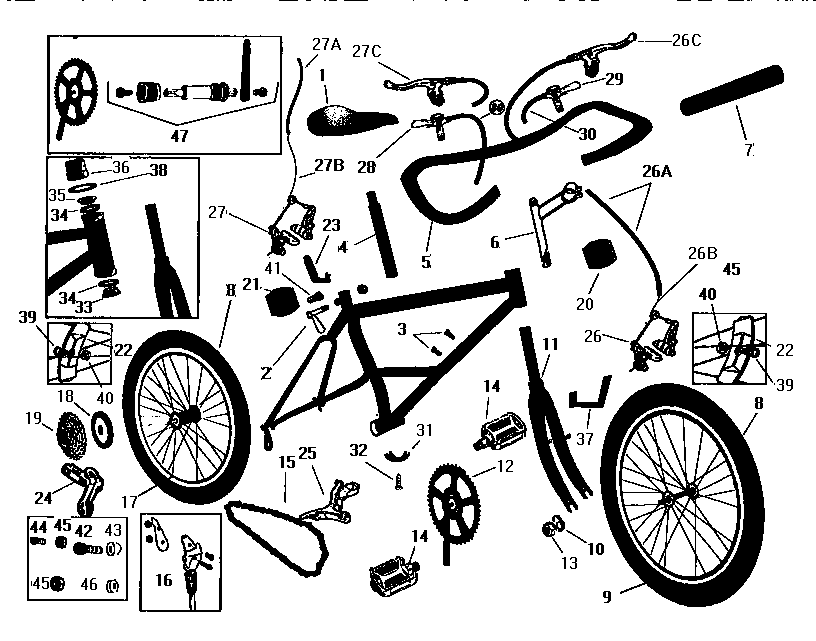 diagram parts list for model 502474422 searsparts bicycleparts