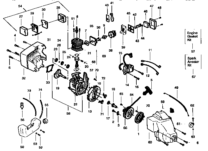 weed eater diagram parts list for model featherlitext25 weedeater
