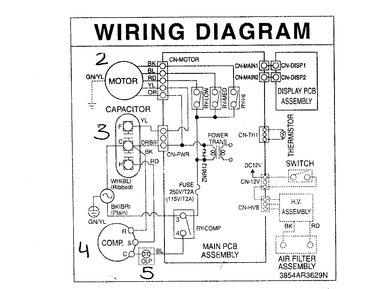 compressor start relay ledningsdiagram