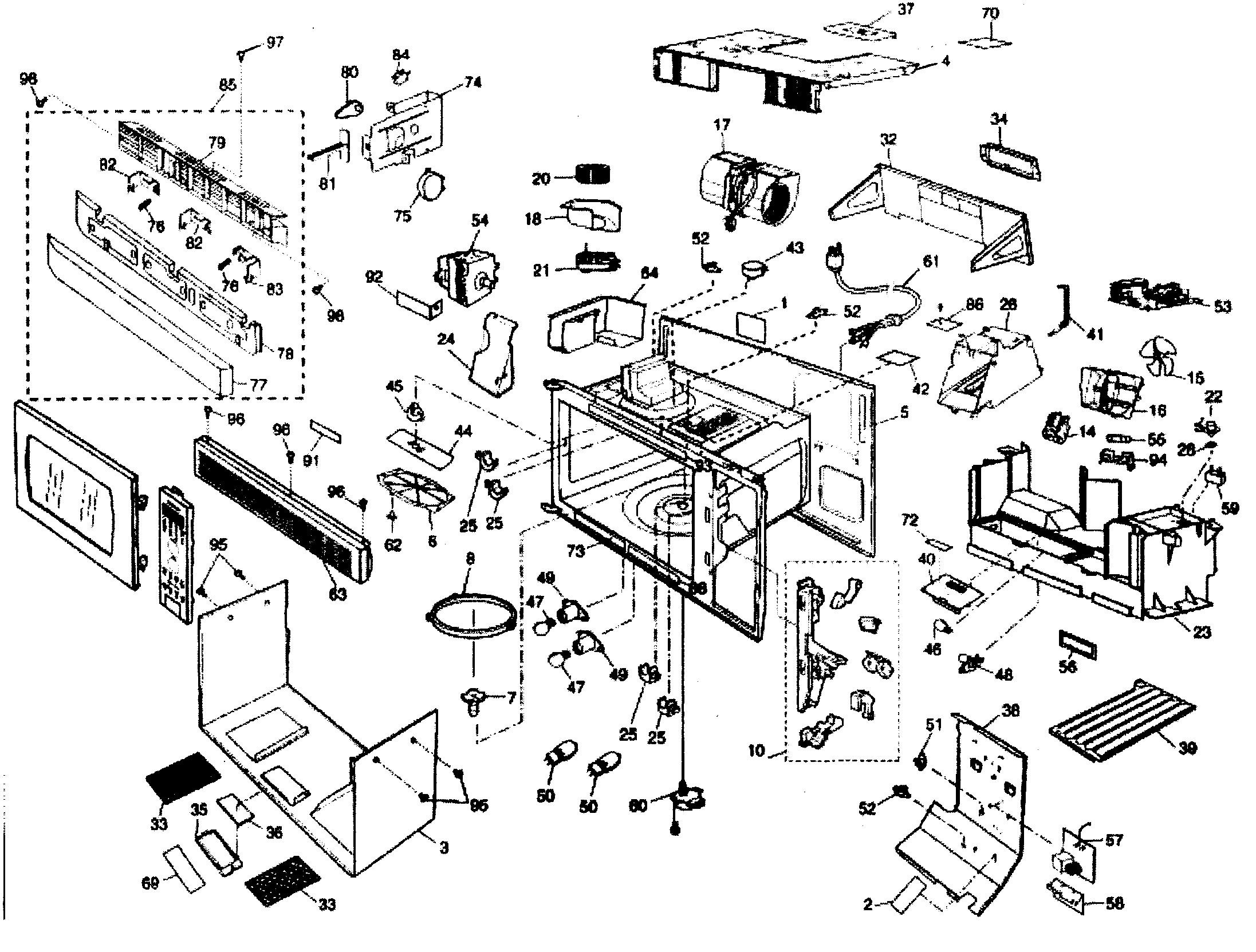 microwave parts diagram and parts list for panasonic microwaveparts
