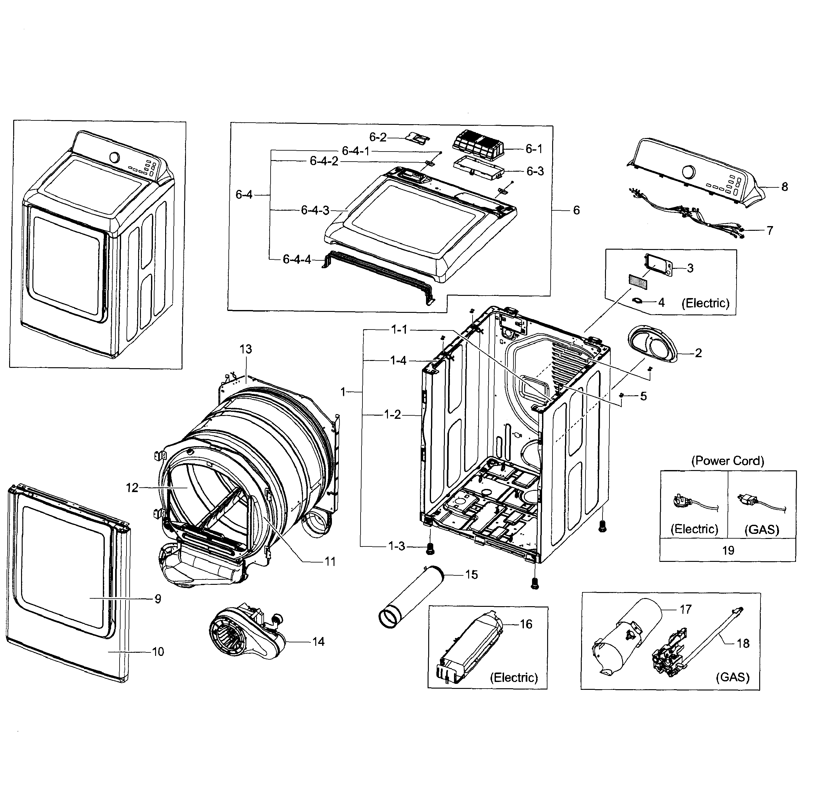 samsung dryer diagram parts