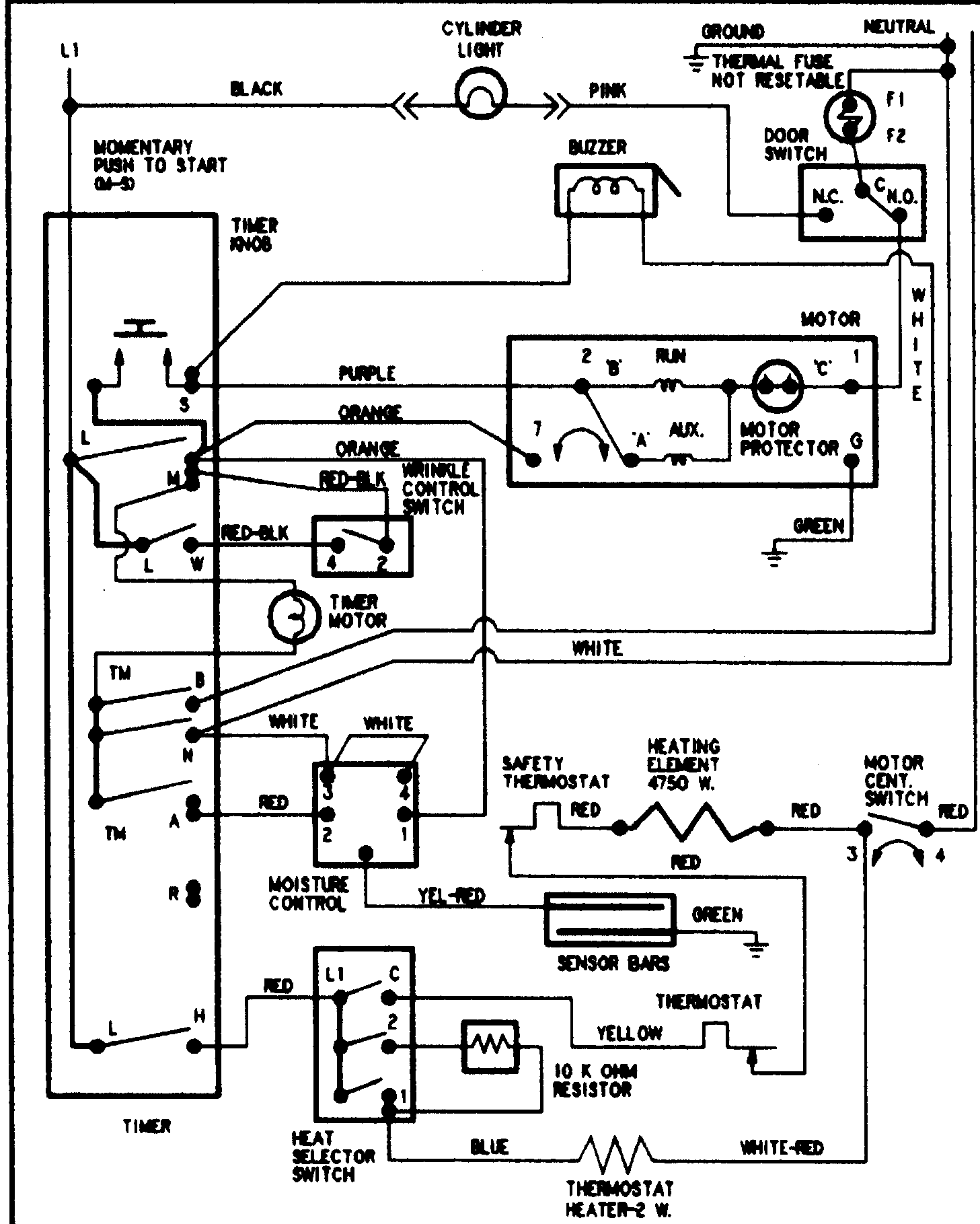 wiring diagram for crosley dryer
