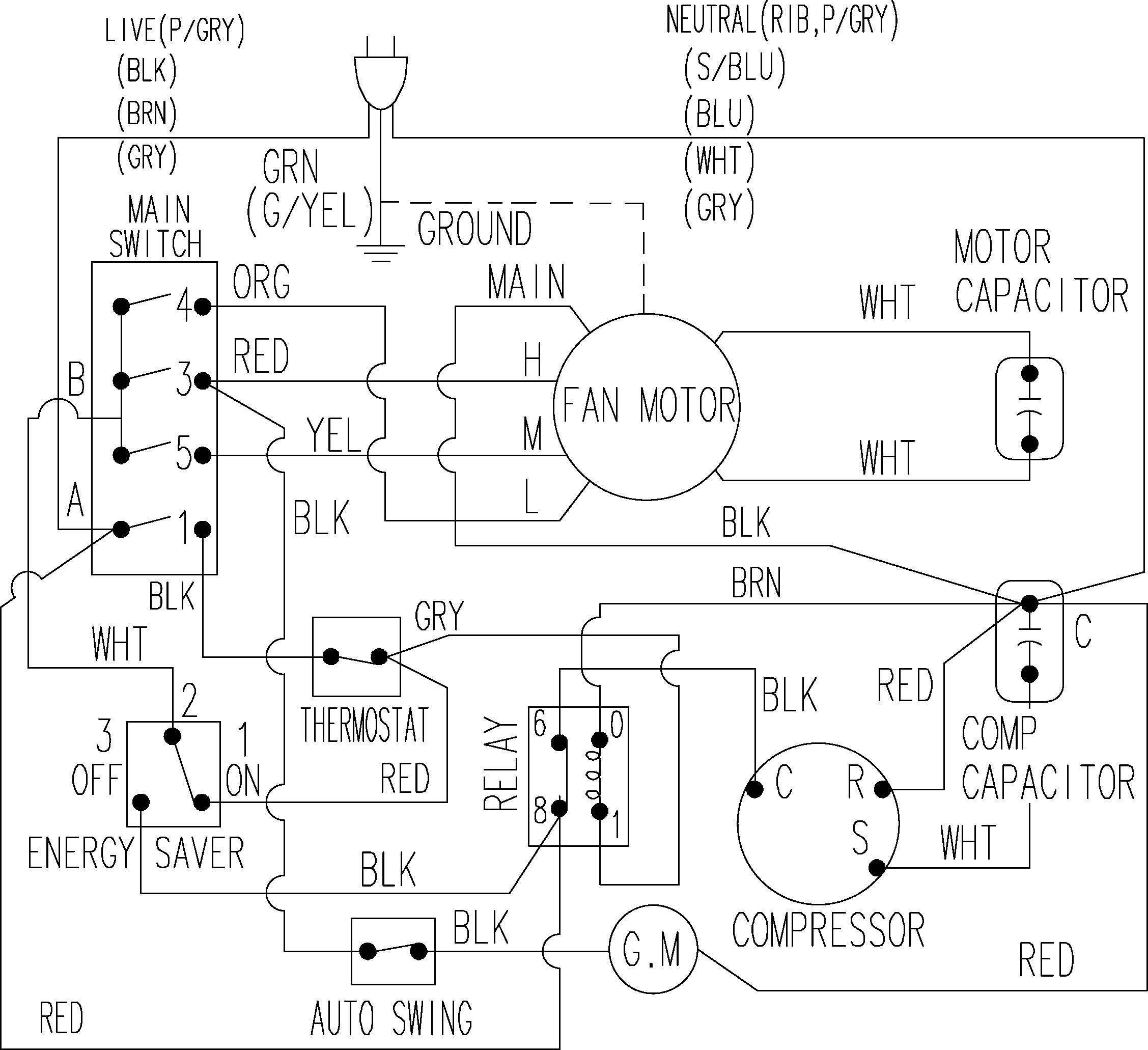 samsung window air conditioner wiring diagram