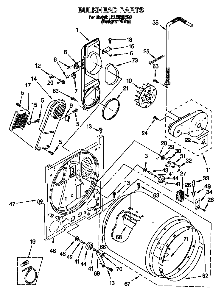 diagram and parts list for whirlpool dryerparts model ler8857eq1