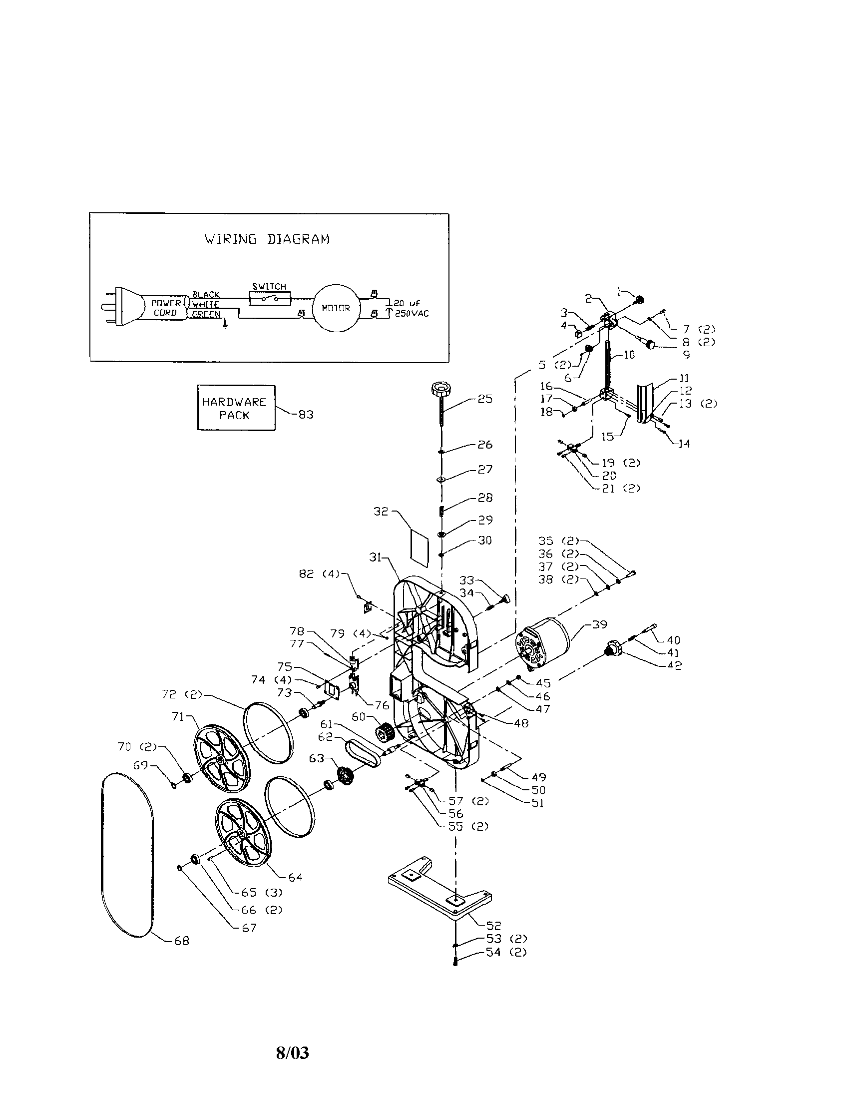 wiring diagram for a band saw
