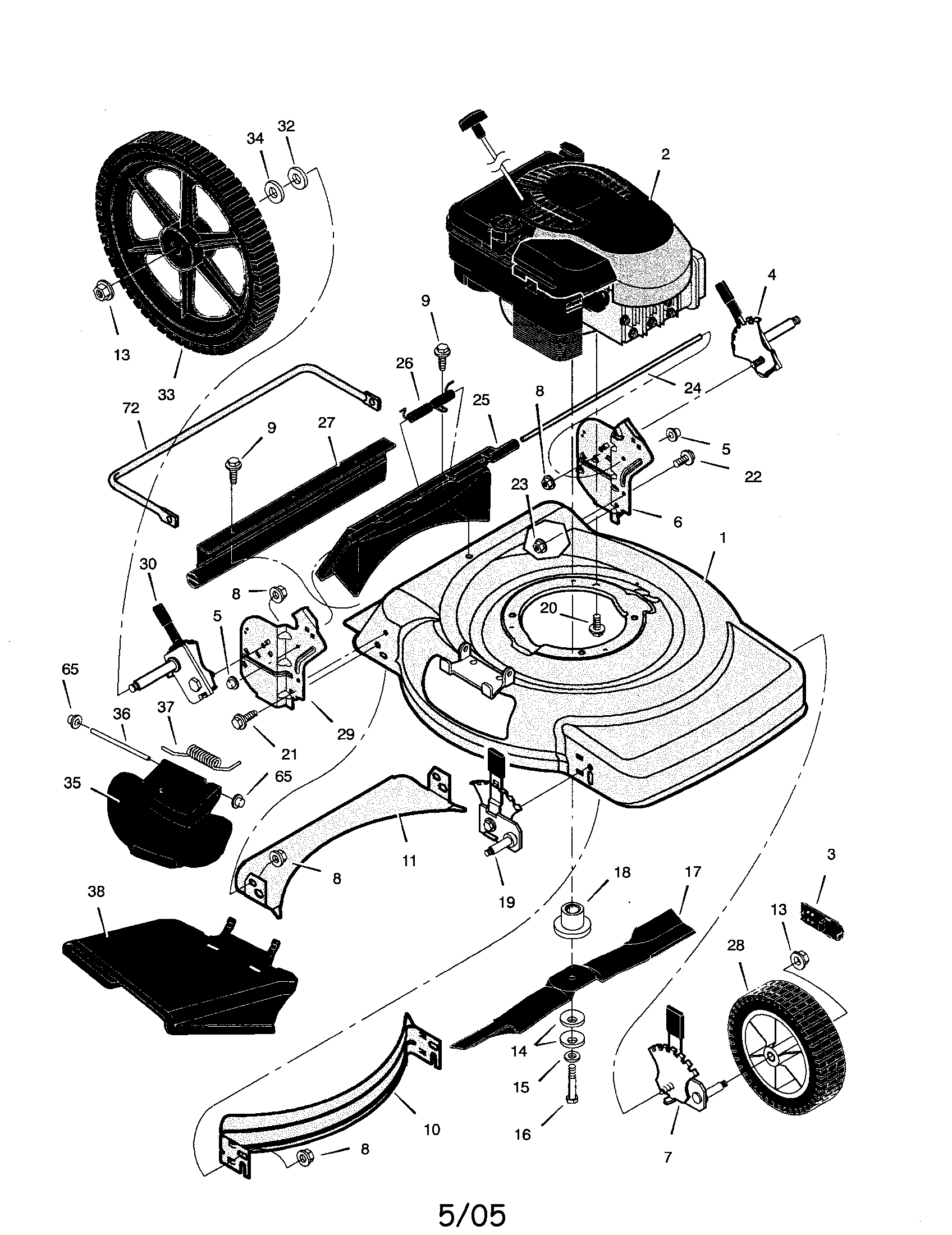handle assembly diagram parts list for model 22315x8c murrayparts