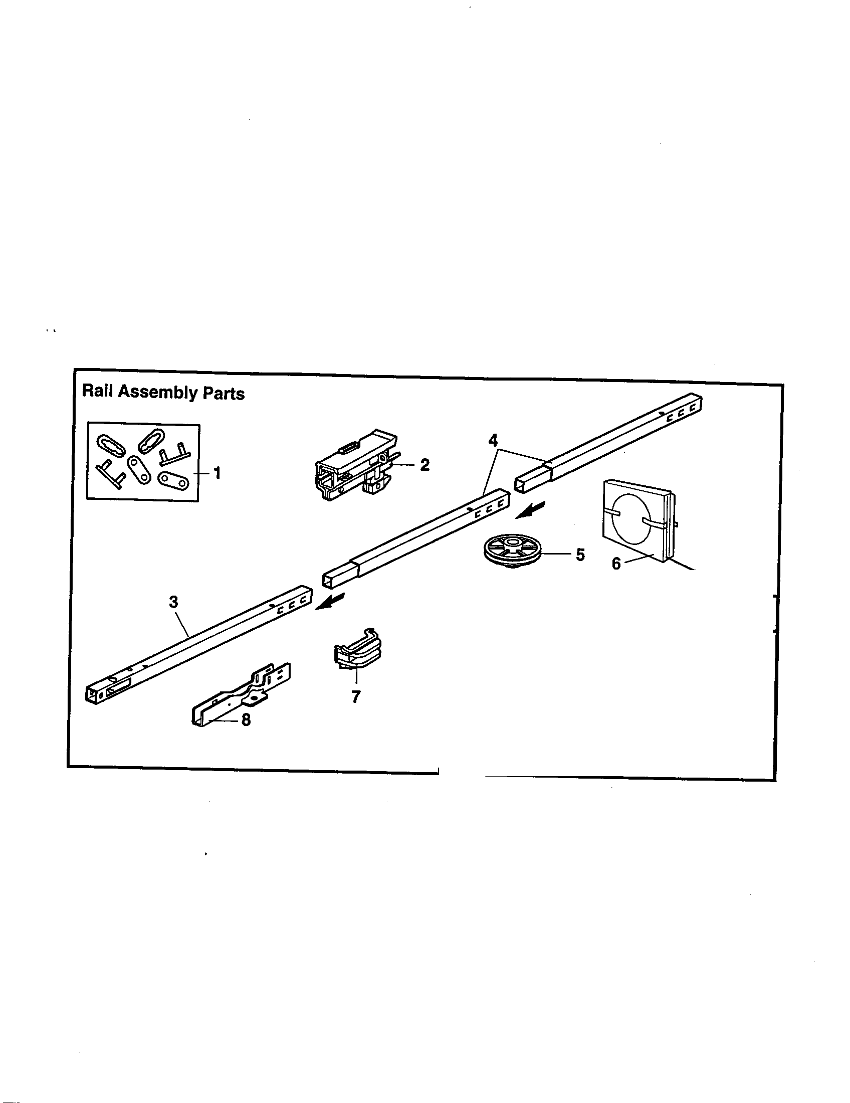 Garage Door Opener Parts Diagram Rail Assembly Diagram And Parts List For Model 13953960srt