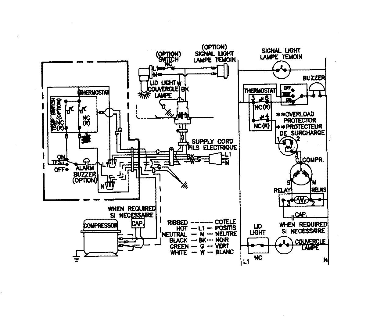 chest type freezer wiring diagram