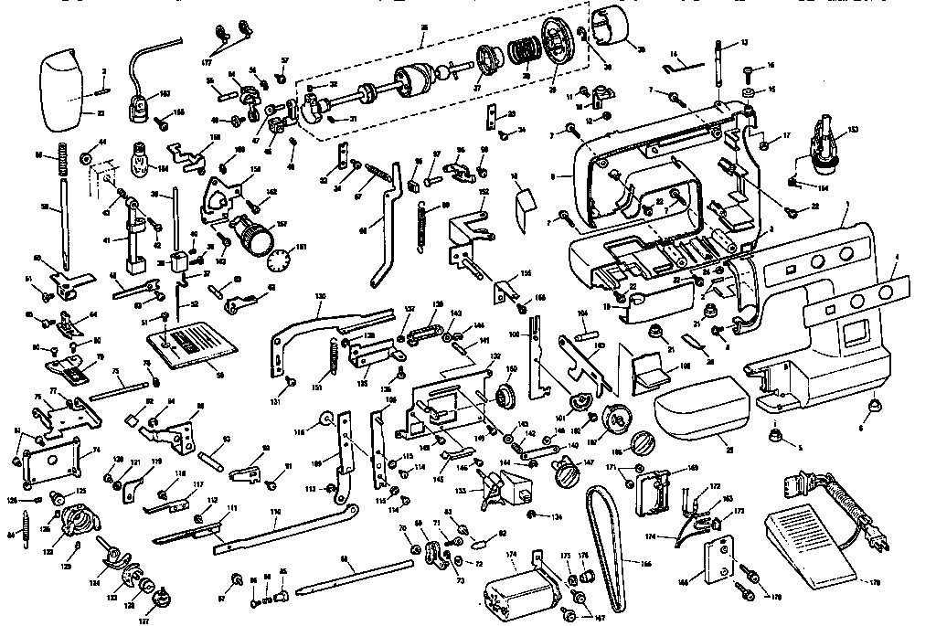 diagram and parts list for brother sewingmachineparts model pe100