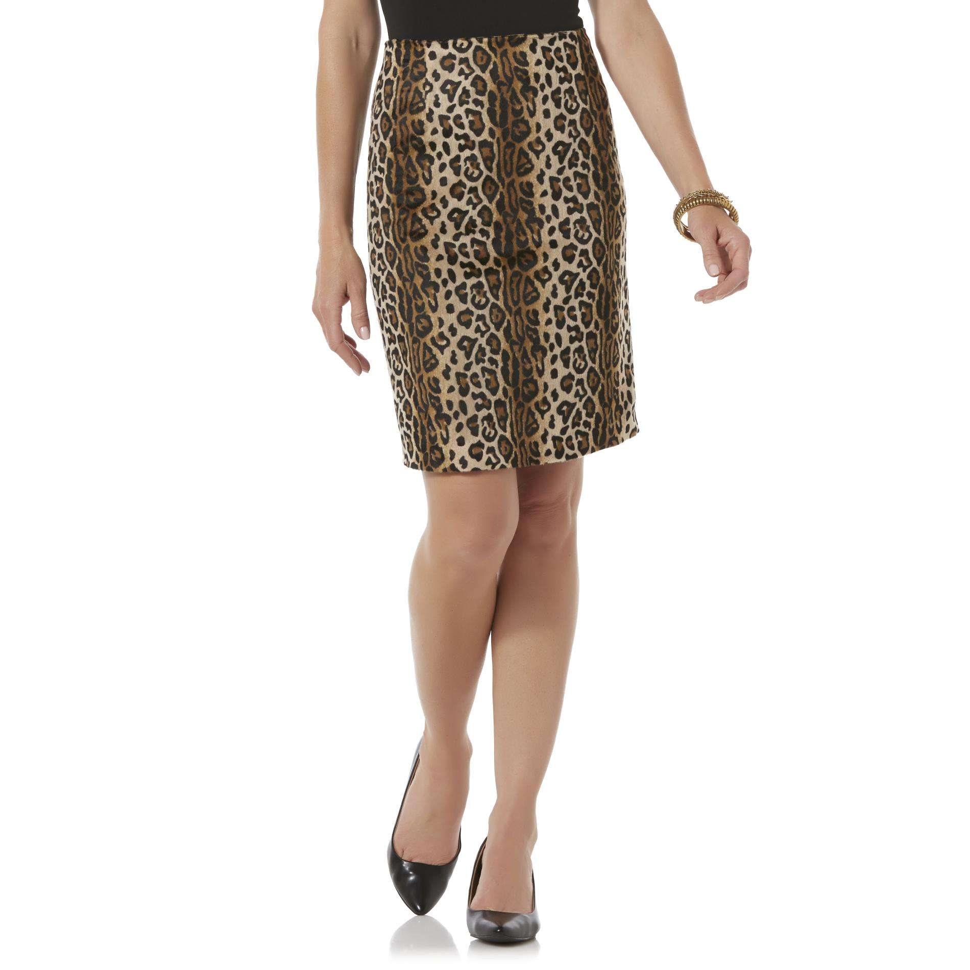 School Skirts Kmart Jaclyn Smith Women 39s Faux Fur Pencil Skirt Leopard Print