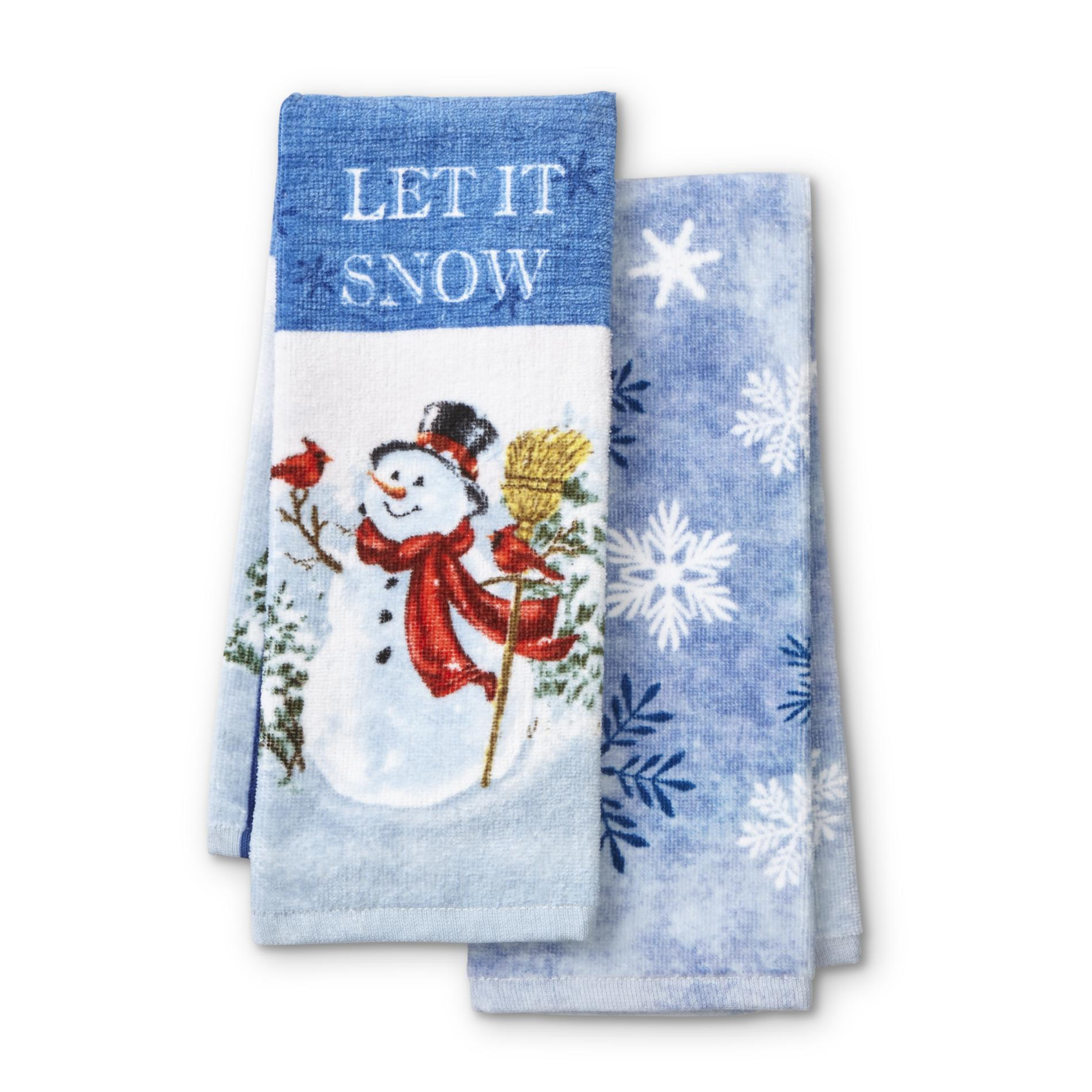 2 Pack Kitchen Trim A Home 2 Pack Kitchen Towels Snowman Snowflakes