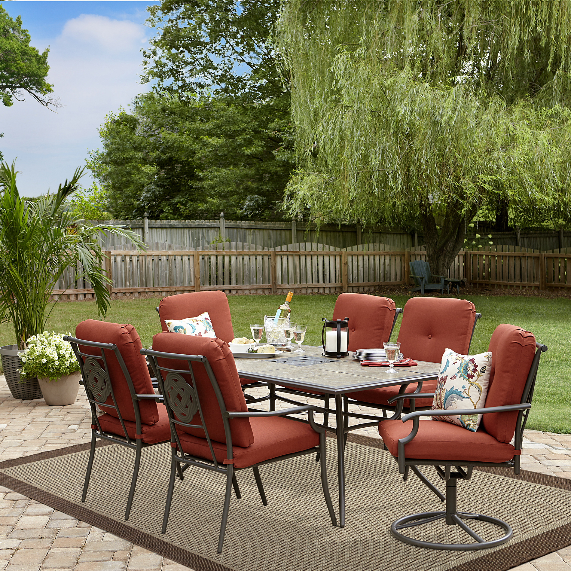 Garden Oasis Brookston 7 Piece Dining Set Terracotta Limited Availability Outdoor Living - Garden Furniture Dining Set Clearance