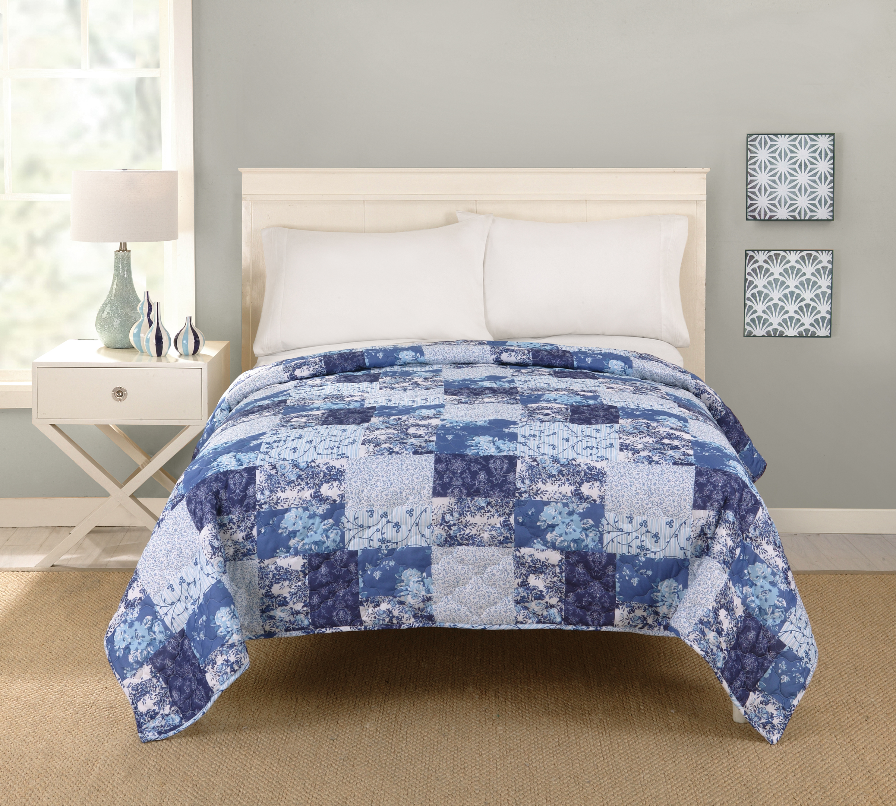 King Size Bed Throws Big Fab Find Patchwork Quilt Blue