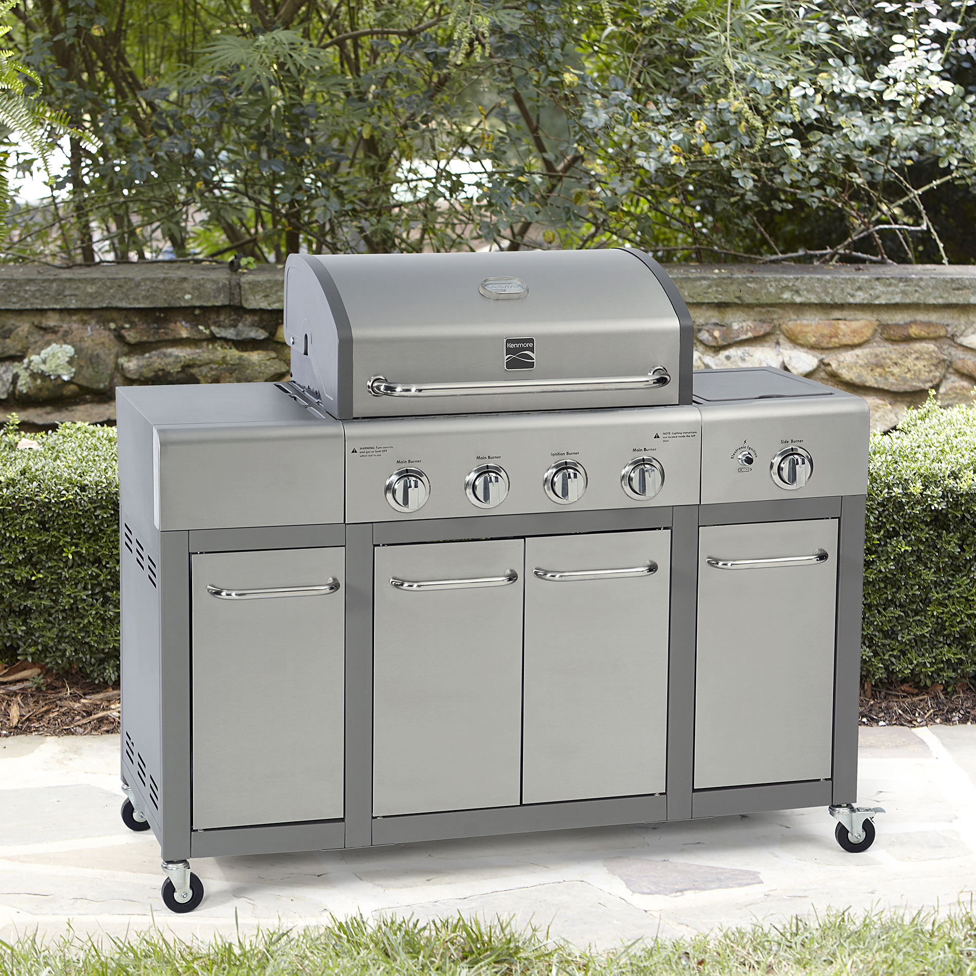 Outdoor Küche Portable Kenmore 4 Burner Gas Grill With Storage Stainless Steel
